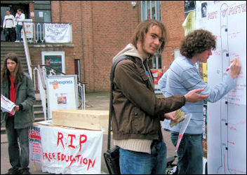 Socialist Students in Exeter did a debt-o-meter on the Campaign to Defeat Fees day of action, photo Jim THomsom