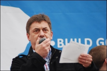 Chris Baugh, PCS assistant general secretary, addresses the Jarrow March for Jobs 2011 on behalf of the PCS, as it ended with a demonstration in London on 5 November , photo Sujeeth