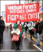 Nancy Taaffe at a Waltham Forest anti-cuts protest, February 2011, photo Senan