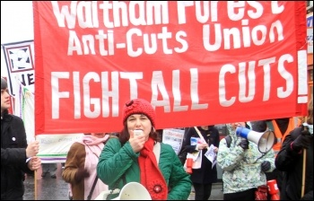 Nancy Taaffe on Waltham Forest anti-cuts protest, photo Senan