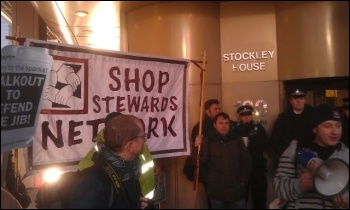 On the picket line at Balfour Beaty London HQ, photo Neil Cafferky
