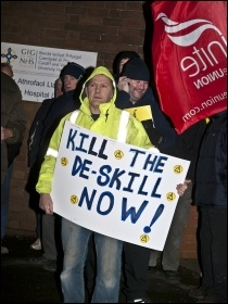 Construction workers protesting in Cardiff, 7.12.11, photo Socialist Party Wales