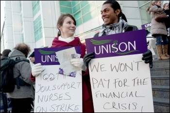 Unison placard - we won't pay for the financial crisis on 30 November 2011 strike, photo Paul Mattsson