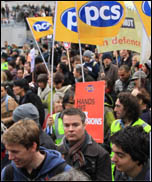 Strikers marching through London on the 30 November 2011 'N30' public sector strike, photo by Senan