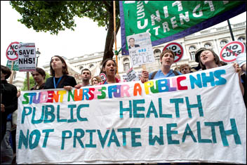 Public Health not private wealth - protest against privatisation in the NHS 2011, photo Paul Mattsson