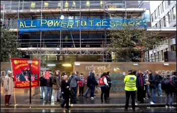 'All power to the Sparks' - Electrician construction workers: protest at Cannon Street, London , photo Paul Mattsson