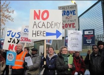 16 February 2011 teachers at Chestnut Grove School in Balham, Wandsworth, south London, went on strike to show their opposition to the school becoming an academy.