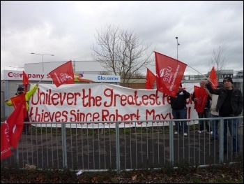 Unilever workers striking for their pensions, Gloucester, 25.1.12, photo by Chris Moore