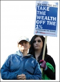 We are the 99% - Take the wealth off the 1% - Socialist Party placard, photo Paul Mattsson
