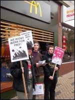 Protesting against workfare in Leeds, February 2012, photo Iain Dalton
