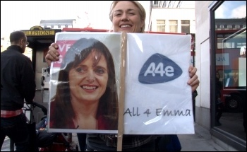Workfare protest targets A4e, photo Socialist Party