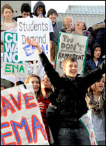 Student demonstrations 24 November 2010 against tuition fees rises and the abolition of the EMA, photo by Senan