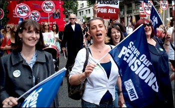 NUT members on the 30 June coordinated strike action with PCS, ATL and UCU teaching unions, photo Paul Mattsson