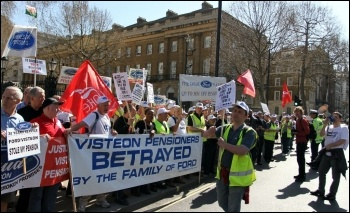 Ford Visteon pensioners protest salutes the passing NUT and UCU strike action demo in London on 28 March 2012, photo Senan