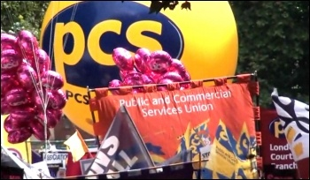 PCS on the 30 June public sector strike supported by the NUT and UCU, photo by  Socialist Party