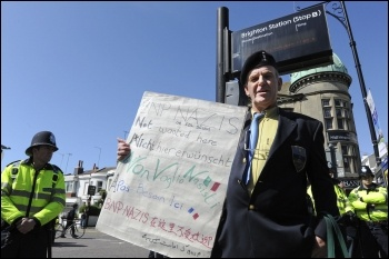 BNP Nazis not wanted here - war veteran protests, photo by Paul Mattsson