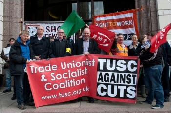 TUSC supports the striking tube workers working for Tube Lines at the Tube Lines HQ in Canary Wharf  25 April 2012, photo by Paul Mattsson