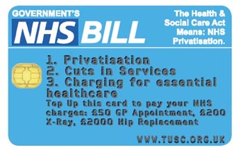TUSC NHS Credit card: The Health & Social Care Act Means: NHS Privatisation