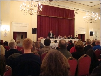 Liverpool TUSC rally, Adelphi Hotel, 26.4.12, photo by Harry Smith