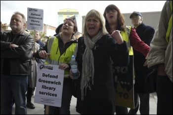Greenwich library workers strike against privatisation, 27.4.12, photo by Paul Mattsson