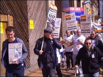 Claps and cheers greet Remploy marchers in Sheffield 20 April 2012, photo Sheffield Socialist Party