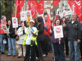 Unite Health demo at Manchester Royal Infirmary, during 10 May public sector strike, photo Hugh Caffrey