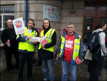 Members of newly formed Leeds teaching hospitals unite branch picketing outside Leeds General Infirmary, photo Iain Dalton