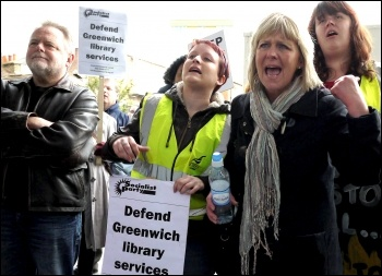Greenwich library workers strike against privatisation, 27.4.12 , photo by Paul Mattsson