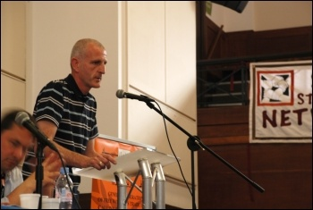Steve Kelly, Unite National Rank and File Electricians Committee addresses National Shop Stewards Network conference, 9 June 2012, photo Suzanne Beishon