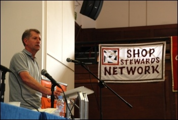 Prison Officers Association National Chairman PJ McParlin addresses National Shop Stewards Network conference, 9 June 2012, photo Suzanne Beishon