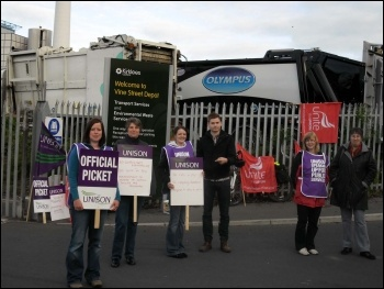 Kirklees council admin workers' strike, 12-14 June 2012, photo by Huddersfield SP