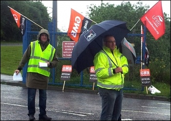Picketing at Fords Dagenham, 18 June 2012, photo Pete Mason