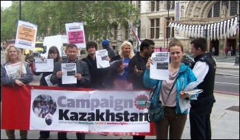 Kazakhstan embassy protest to free Bolat Atabayev, photo Dave Carr