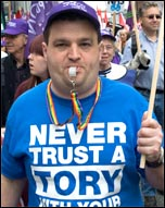 TUC protest outside Tory Party conference , photo Paul Mattsson