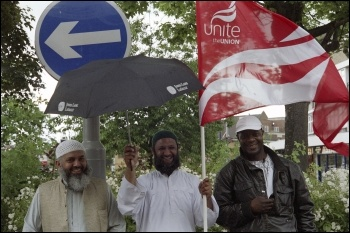 Leyton bus workers took part in the 22 June 2012 London-wide bus strike , photo Paul Mattsson