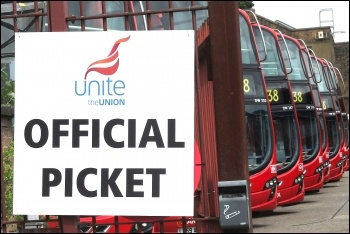 Hackney bus workers stopped the busses on the 22 June 2012 London-wide bus strike , photo Paul Mattsson