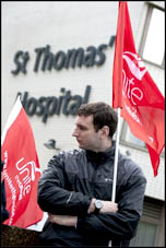 Unite members at St Thomas' Hospital on strike 10 May 2012 as part of the nationwide strike of workers in the public sector against attacks on pensions, photo Paul Mattsson