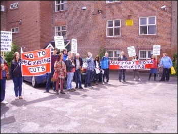 Protesting outside Sova northern area office in Sheffield on July 4th 2012, photo by Alistair Tice