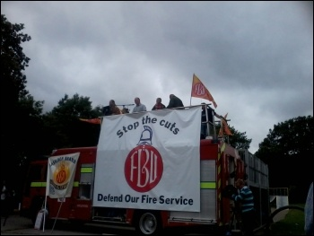 Firefighters' strike in Essex, 18.7.12, photo by Dave Murray