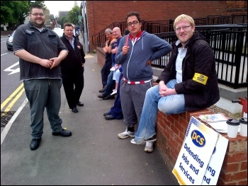 Jobcentre call centre workers picketing in Lincoln, 13.8.12, photo by Nick Parker