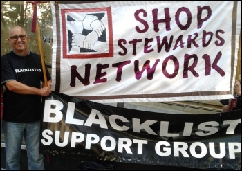 Socialist Party members and National Shop Steward Network (NSSN) supporters gave support to a building workers' protest outside the Crown House site. Crown House want to tear up the national agreement in order to cut wages, photo Rob Williams