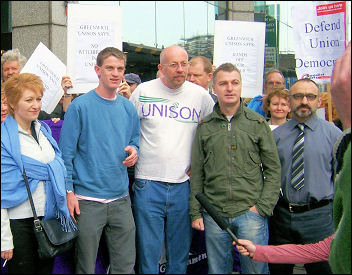 Lobby of Unison disciplinary hearings against the four Socialist Party members, here joined by the Hackney Unison branch secretary, photo Alison Hill