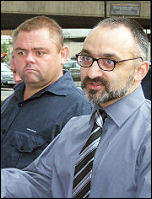Onay Kasab (right) at the Unison lobby to face charges from the union, photo Alison HIll