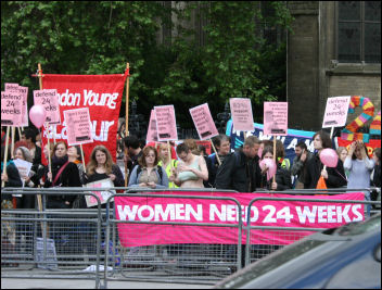 1,000 people joined a lively Abortion Rights Campaign protest opposite Parliament , photo Leah Jones and Anna Engelhardt